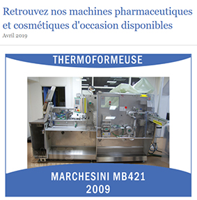 Machines pharmaceutiques d'occasion – avril 2019